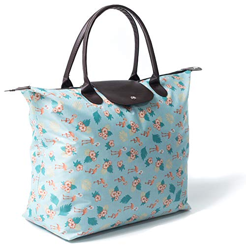 Womens Tote Bag, KAMANDUO Fashion Nylon Waterproof Flamingo Print Lightweight Large Shoulder Hand Bags for Travel Beach College,Blue