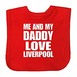 BabyPrem Baby Bib Me and My Daddy Love Liverpool Red