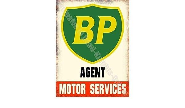 BP Gasolina Agente Motor Servicios Coche Aceite Garaje Vintage Metal ...