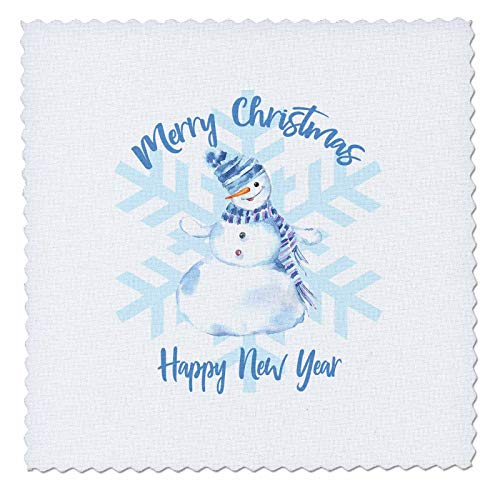 - 3dRose Alexis Design - Holidays Christmas - Blue Snowflake, Beautiful Snowman. Merry Christmas Happy New Year - 20x20 inch Quilt Square (qs_300071_8)