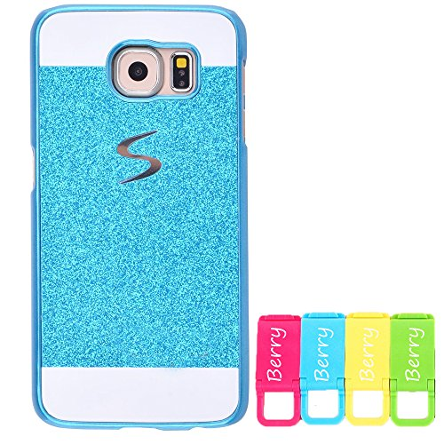 Berry Accessory(TM) Beauty Luxury Diamond Hybrid Glitter Bling Hard Shiny Sparkling with Crystal Rhinestone Cover Case for Samsung Galaxy S6 edge Plus + Berry logo stand holder (Blue)
