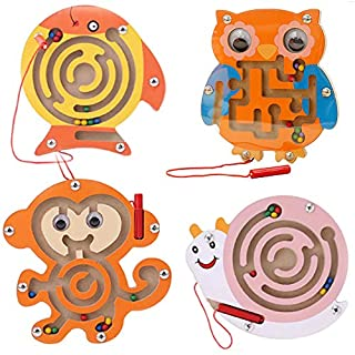 Wooden Magnetic Maze Toys Montessori Labyrinth STEM Activity Puzzle Fine Motor Skill for Preschool Animals Birthday Party Favor Gift for Boy and Girl - Perfect for 2, 3 and 4 Year Old