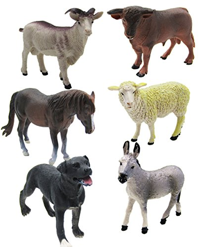 6 Piece Farm Animal Toy Figures,Realistic Animals Action Model
