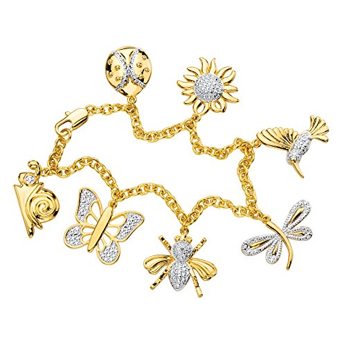 Seta Jewelry White Diamond Accent Pave-Style 18k Gold-Plated Rolo-Link Charm Bracelet ()