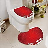 2 Piece Shower Mat set christian christmas scene on red background illustration Custom made Heart shaped foot pad Set