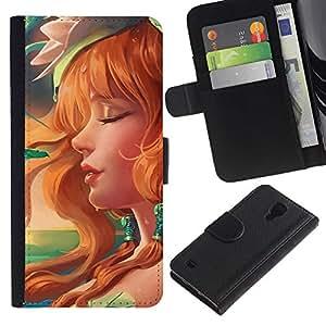 KLONGSHOP // Tirón de la caja Cartera de cuero con ranuras para tarjetas - Redhead atractivo - Samsung Galaxy S4 IV I9500 //