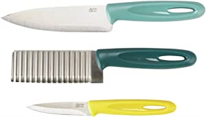 Jamie Oliver Stainless Steel/Plastic Crinkle Cut Knife Set, 15/12/8.5 cm - Blue/Turquoise/Yellow, Set of 3
