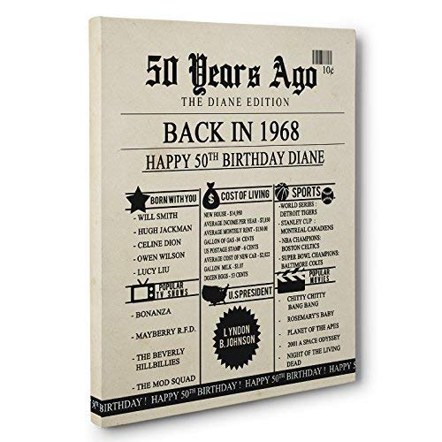 50th Birthday Newspaper Born in 1968 Stats CANVAS Wall Art