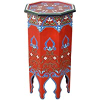 Moucharabi Painted Wood Table Red