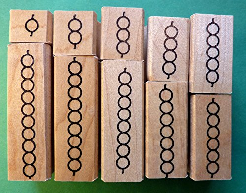Montessori Teacher's Bead Bar Rubber Stamp Set, 1 thru 10 by StampCrafter