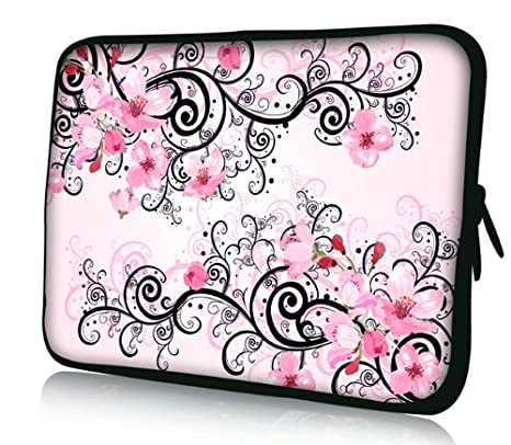 "rosa flores de 12"" - Pulgadas-universal-ordenador portátil comprimido mangas bolsa-"