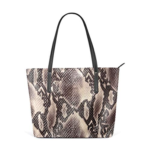 (Snake Skin Illustion Women's PU Leather Tote Shoulder Bags Handbags Casual Bag)
