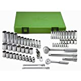 SK Hand Tool 94562 1/4-Inch Drive Standard Deep Metric Socket Set, 3/8-Inch, Chrome, 62-Piece