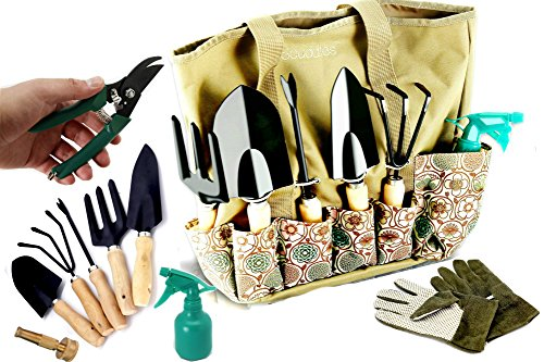 scuddles - Garden Tools Set - UPGRADED 2018 Gardening Bag Organizer Includes - Shears, Fork, Rake, Trowel, Weeder, Water Sprayer, Power Jet Hose Spray & Gloves Gift (Power Rake Grass)