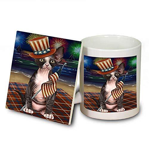 4th of July Independence Day Firework Sphynx Cat Mug and Coaster Set MUC52452 (Dishwasher Independence Safe Coasters)