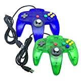 Bowink Classic Retro N64 Bit USB Wired Controller for PC and Mac (Clear Blue and Clear Green)