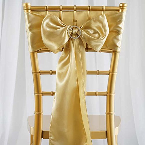 Efavormart 25pcs Champagne SATIN Chair Sashes Tie Bows Catering Wedding Party Decorations 6 x106