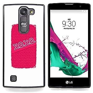 """Abrazos Besos de amor de San Valentín blanca"""" - Metal de aluminio y de plástico duro Caja del teléfono - Negro - LG Magna / G4C / H525N H522Y H520N H502F H500F (G4 MINI,NOT FOR LG G4)"""