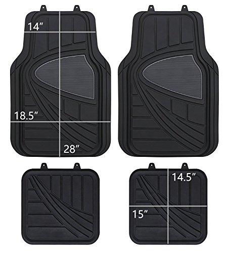 PIC AUTO All Weather Rubber Floor Mats Trimmable for Car SUV & Truck, Heavy Duty Protection (Black Gray, 4 Pieces)