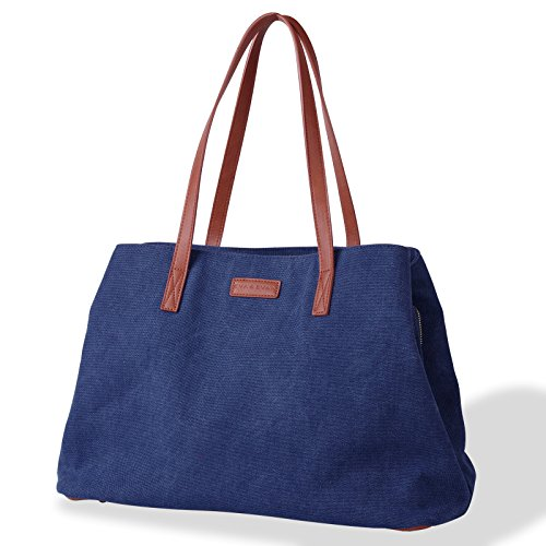 Eva & Evan Women's Canvas Hobo Top Handle Bag Shoulder Bag Stylish Style Large Ladies Casual Hobo Daily Purse Tote Shopper Handbag (Blue)
