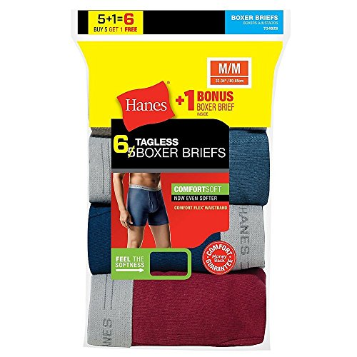 Hanes Men`s TAGLESS Boxer Briefs with Comfort Flex Waistband, 7349Z6, M, 6-Pack (Boxers Pack Mens Hanes 6)