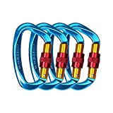 4 - Pack 25KN Rock Climbing Carabiner , D-shaped Hot-forged Magnalium Locking Climbing Hook Holds 5511lbs with Screwgate Clip Climber Hiking Karabiner Outdoor Sport Tools CE Certified (Blue, 4 pack)