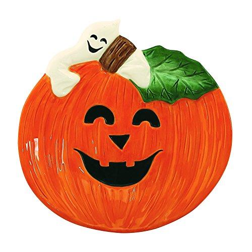 Halloween Collection, Happy Halloween Pumpkin & Ghost Canape Plate, White/Orange