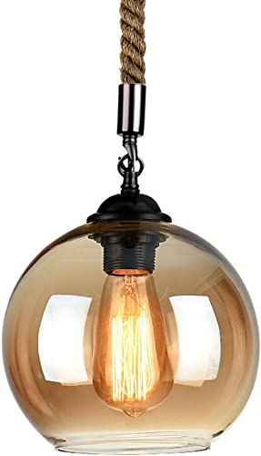Vintage Hemp Rope Ball Glass Ceiling Pendant Light Industrial Retro Glass Shade Hanging Fixture Chandelier, E26 Edison Bulb, Cord Length Adjustable, for Restaurant Bar Dining Room Living Room