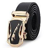 Fashion Men's Real Leather Ratchet Quick Release Belts(Jaguar Style) (Gold-hollow)