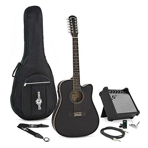 Dreadnought 12-saitige Elektroakustische Gitarre Black mit Verstä rkerpaket Gear4music