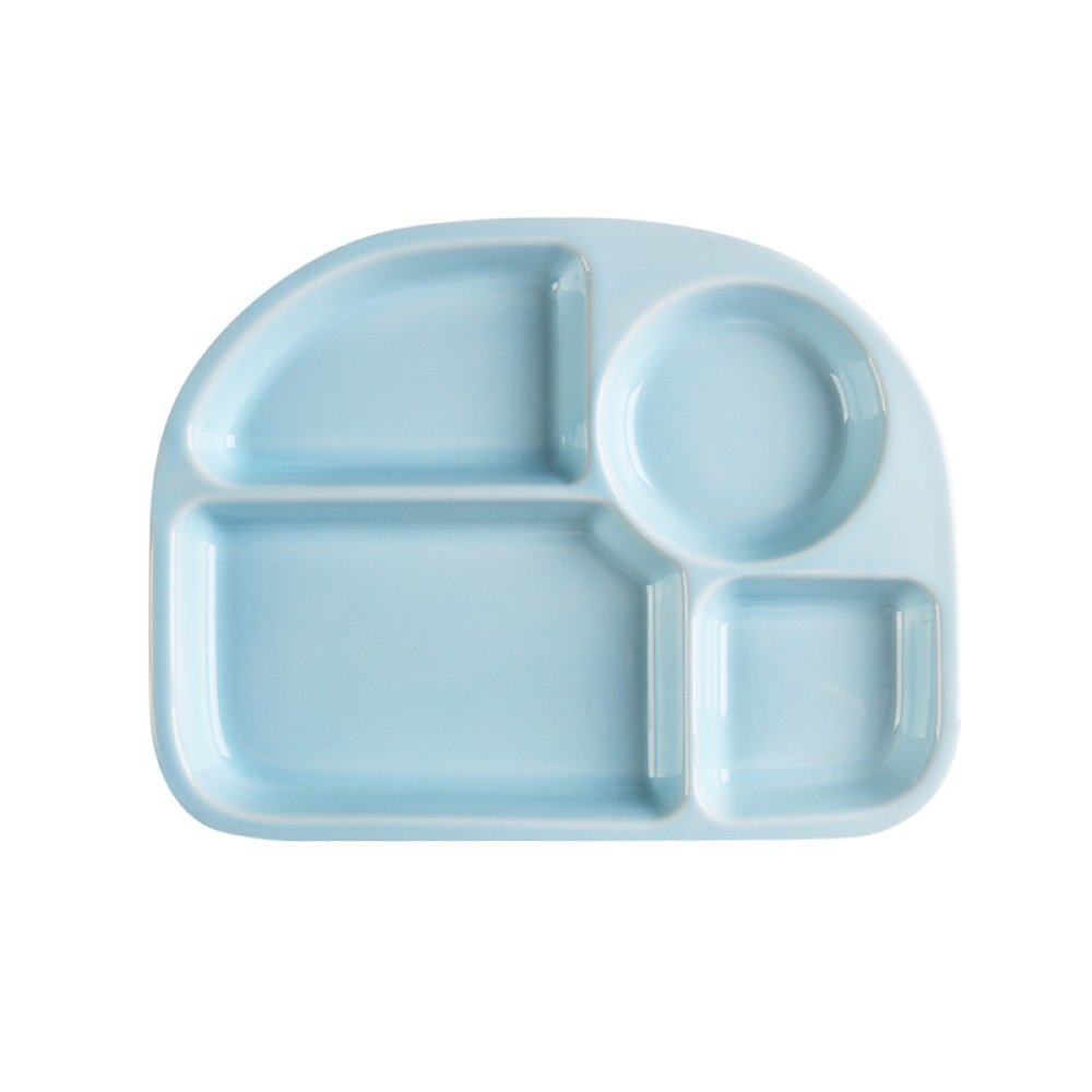 guodongdong Tableware Ceramic Creative Children's Snack Tray Separated Dining Tray Adult Separated Dishes Home Duoge,Blue by guodongdong (Image #1)