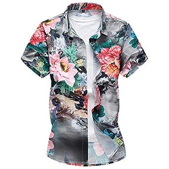 EELa Mens Printed Floral Flower Bird Street Short Sleeve Casual Button Down Shirt Summer Hawaiian M