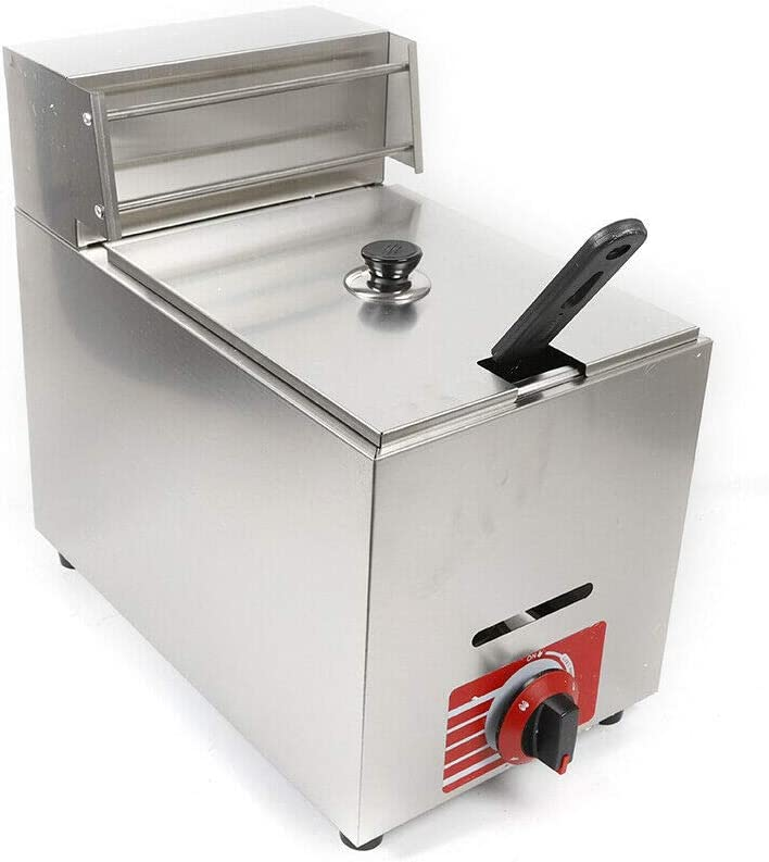 Gdrasuya10 Commercial Countertop Gas Fryer, Stainless Steel 10L Deep Fryer Propane with 1x Basket
