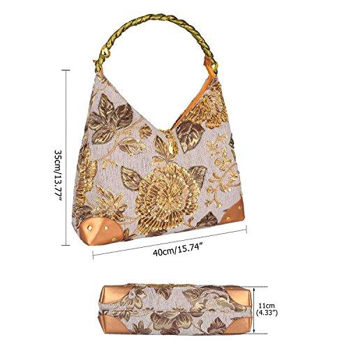 Style Sac Sac Hiver Sac Épaule Fleur Main Sac Broderie à 2017 Brodé de Femme Unique Vintage Sac Rétro Gris Perle de w4qpXXx1