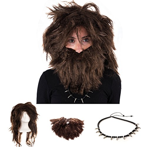 Caveman Costume - Caveman Wig , Beard & Necklace - Costume Accessories (3 Pc Set) by Tigerdoe