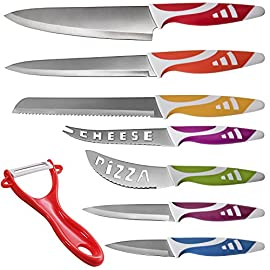 Kitchen Knife Set Chef Knives - 8pc Gift Knive Sets - Stainless Steel Professional Home Cooking Accessories Best for Commercial Grade Chefs Cutting Knifes Non-Stick Blades Colorful Decor Sharp Cutlery 21 8 PIECE STAINLESS STEEL KNIFE SET: Form meets function with this colorful 8 piece knife set. CHOP SLICE AND PEEL WITH EASE: 7 unique knives plus ergonomic peeler, all with easy grip handles. INCLUDES: Chef Knife Bread Knife Carving Knife Utility Knife Paring Knife Cheese Knife & Pizza Knife