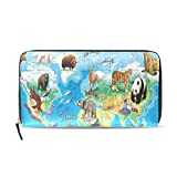 Womens Wallets Animals Of The World Map Leather Passport Wallet Coin Purse Girls Handbags