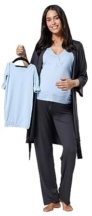 694b05a1de0c6 Happy Mama Women's Maternity Nursing Pyjama Gown Baby Mama 4pcs Matching Set  181 (Graphite Melange