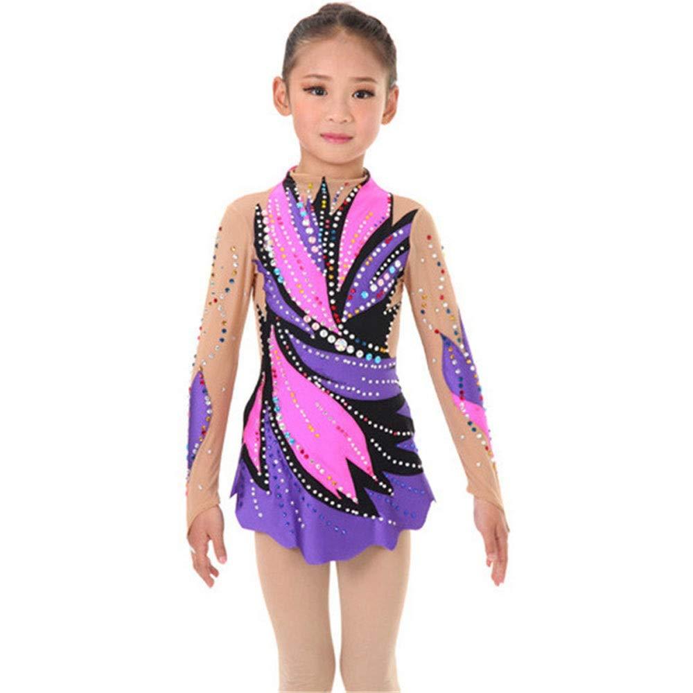 女の子女性新体操用パフォーマンススーツ体操用ドレスマルチカラー光沢のあるラインストーンパープルピンクライン パープル Child6