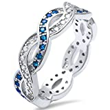 Sterling Silver Blue Simulated Sapphire & Cubic Zirconia Infinity Band Ring Sizes 4-11