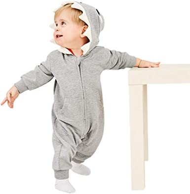 OutTop Baby Boys Girls Romper Toddler Infant 3D Cartoon Shark Hooded Romper Jumpsuit Zipper Pajamas Homewear Clothes