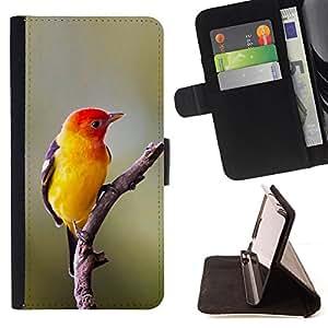 BullDog Case - FOR/Samsung Galaxy Core Prime / - / yellow bird songbird spring nature branch /- Monedero de cuero de la PU Llevar cubierta de la caja con el ID Credit Card Slots Flip funda de cuer
