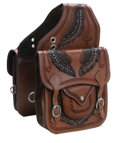 Showman Medium Oil Leather Saddle Bag w/Tooled Feather Design in Dark Oil! NEW HORSE TACK!