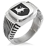 Two-Tone Stainless Steel Bull Bravery Coat of Arms Shield Engraved Clear Cubic Zirconia Ribbed Needle Stripe Pattern Biker Style Polished Ring, Size 12