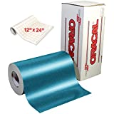 """ORACAL Turquoise Metallic Sparkle Premium Adhesive Craft Caste Vinyl 12"""" x 24"""" for Cameo, Cricut & Silhouette Including 12"""" x 24"""" Roll of Clear Transfer Paper"""