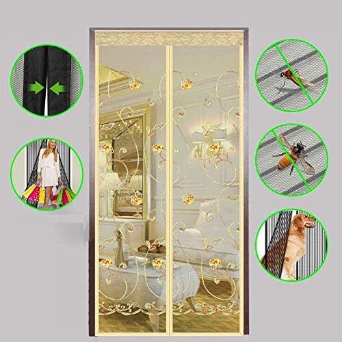 蚊帳 カーテン自動防蚊ネットまたは防虫マグネットソフトドア用のスクリーンドア、マグネット付き大型フライメッシュスクリーンドアヘビーデューティーメッシュカーテン - 防虫蚊帳ドア,ブラウン,100x210cm,Beige,90x220cm