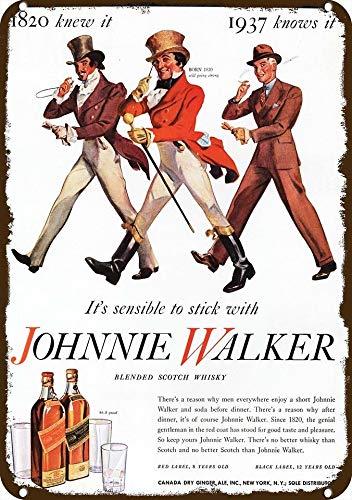 Yilooom 1937 Johnnie Walker Scotch Whisky Vintage-Look Replica Metal Sign 7