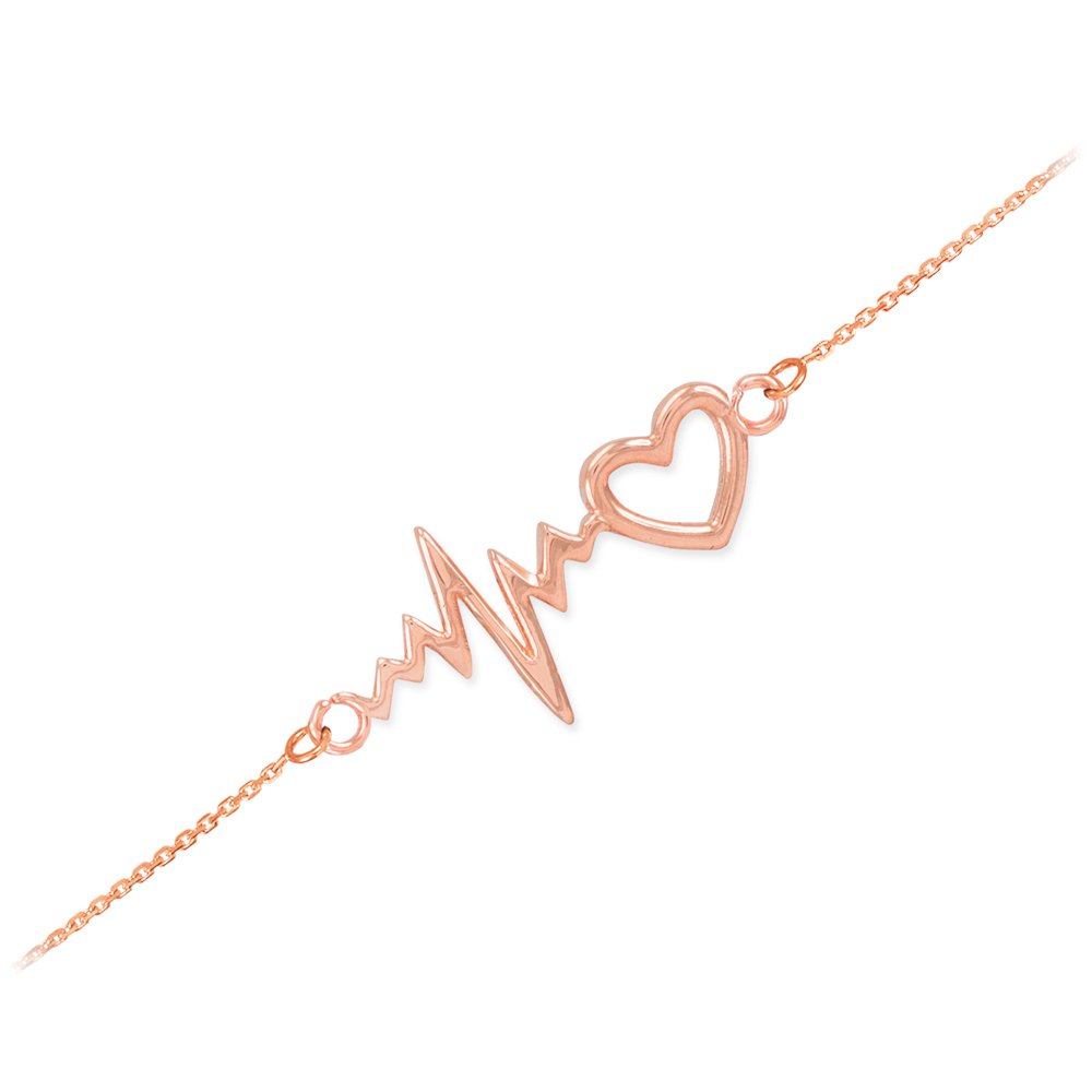 Dainty 14k Rose Gold Heartbeat Bracelet, 7.5'' Adjustable to 8''