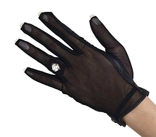 Lady Classic Solar Nail and Ring Glove, Black, Large, Left Hand