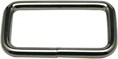 Generic Metal Silvery Rectangle Buckle with Slider Bar 1.5 X 0.8 Inside Dimensions Loop Ring Belt and Strap Keeper for Backpack Bag Accessories Pack of 10